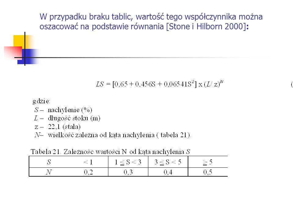 W przypadku braku tablic, wartość tego współczynnika można oszacować na podstawie równania [Stone i Hilborn 2000]: